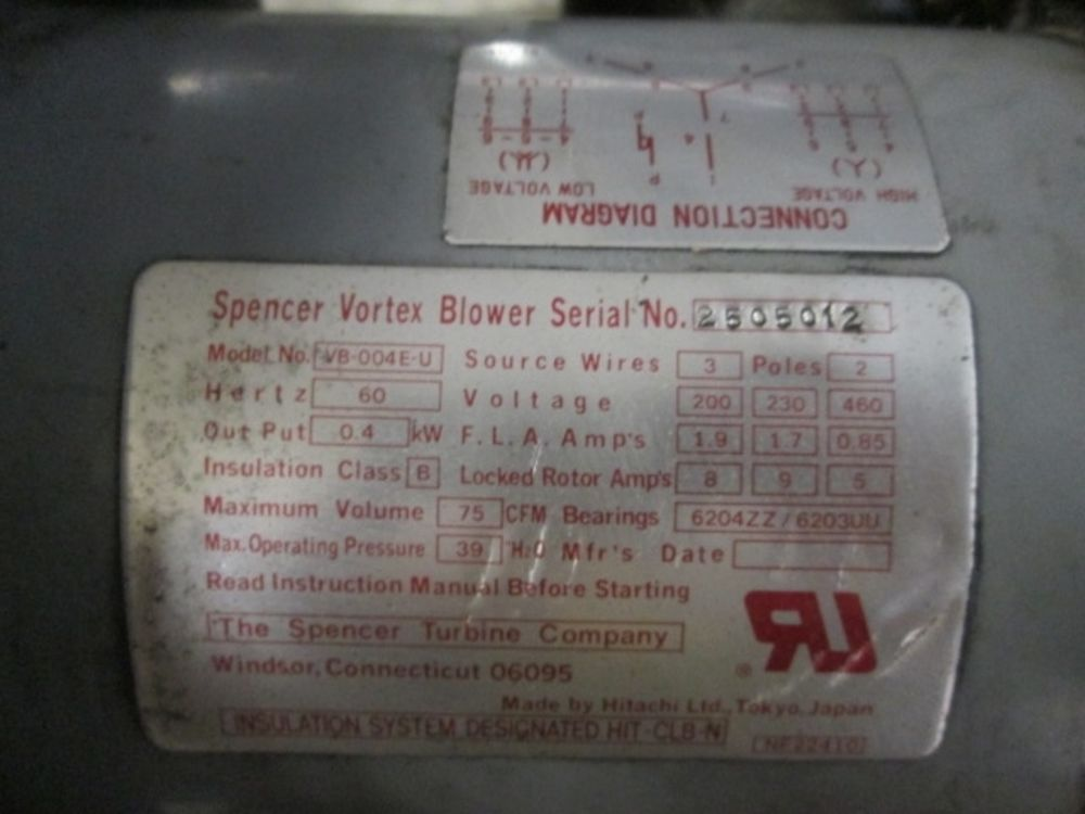 Spencer Vortex Blower Vb 004e U 200 230 460 Volt Blower