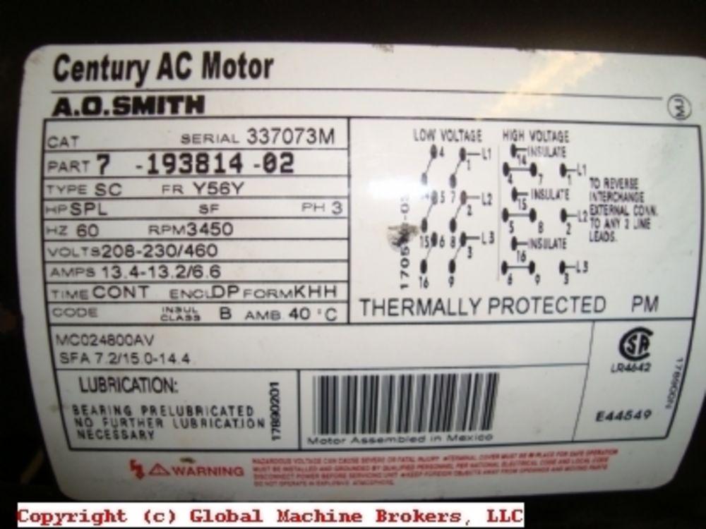 Century Ac Motor >> Century Ac Motor A O Smith 5 Hp 208 230 460v